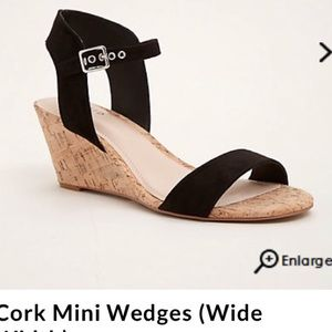 NWT Torrid black cork mini wedge